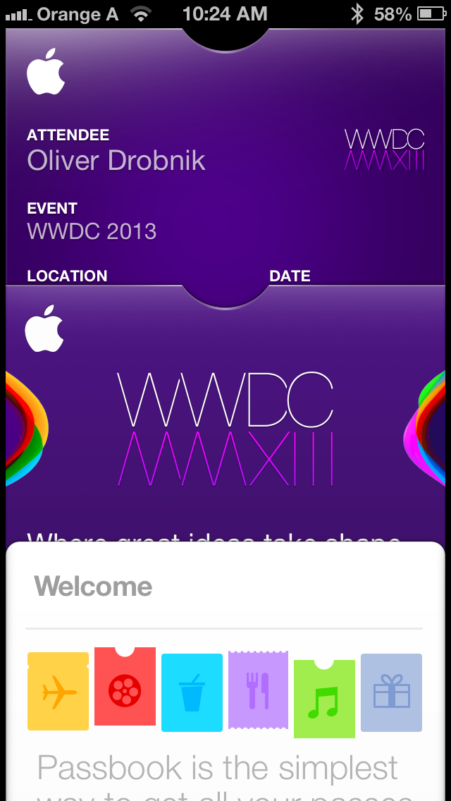 Real and Fake WWDC Passbook passes