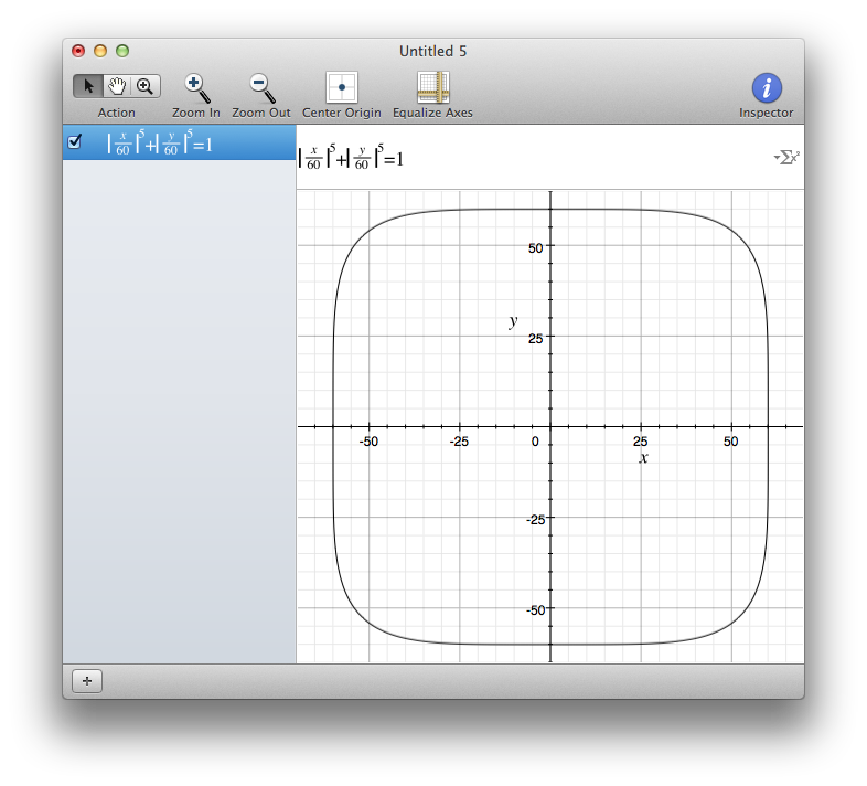 iOS 7 Squircle in Grapher