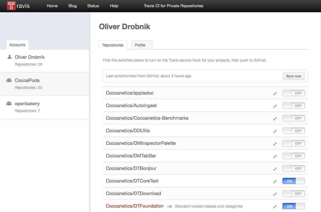 Enabling a GitHub repo with Travis