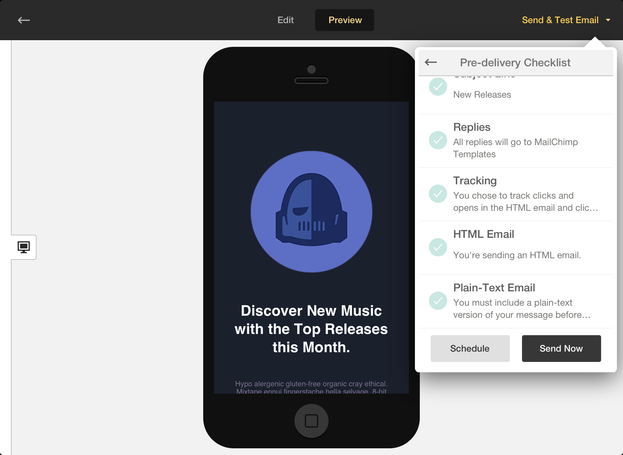 MailChimp Mobile Preview
